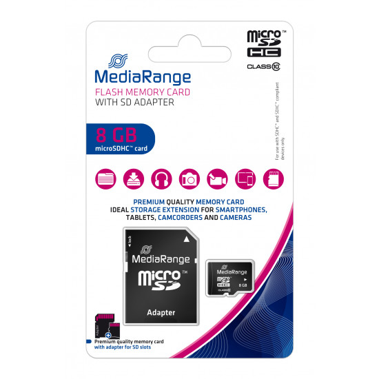 MediaRange Micro SDHC UHS-I U1 Card 8GB + adapter