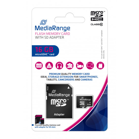 MediaRange Micro SDHC UHS-I U1 Card 16GB + adapter
