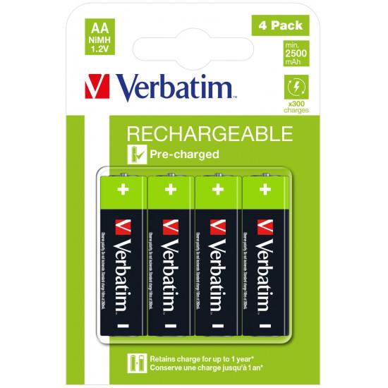 Verbatim AA Premium Rechargeable Batteries HR6 4pk