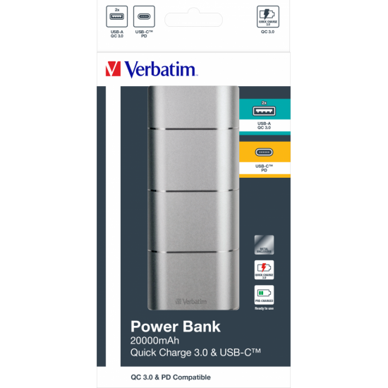 Verbatim 20000mAh Power Bank Quick Charge 3.0 & USB-C™