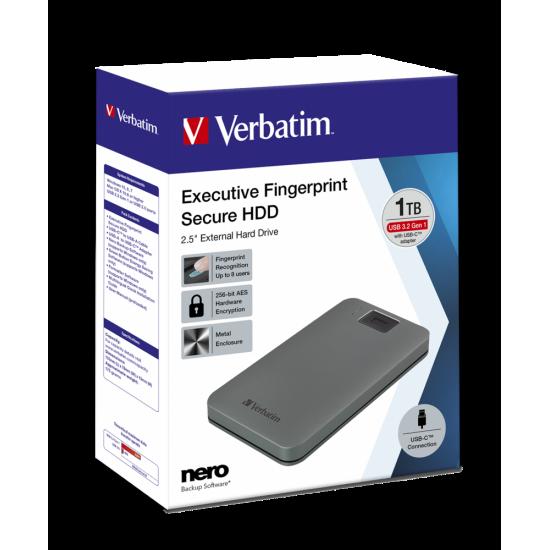 Verbatim Executive Fingerprint Secure Portable USB-C HDD 1TB