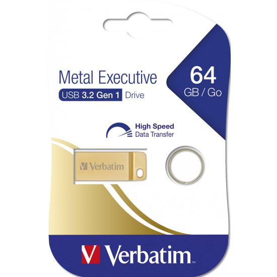 Verbatim USB 3.0 Flash Drive Metal Executive Gold 64GB